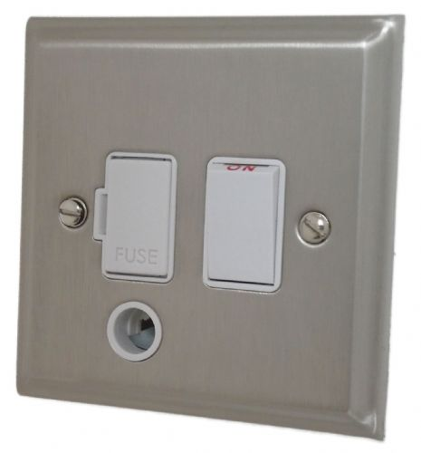 G&H DSN56W Deco Plate Satin Nickel 1 Gang Fused Spur 13A Switched & Flex Outlet